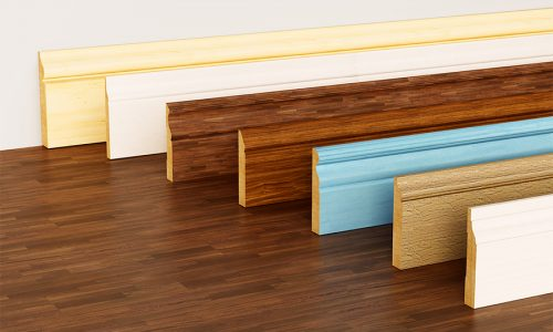 Baseboards with various profiles standing on hardwood surface. 3D illustration.